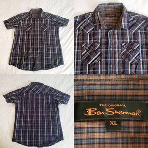 Ben Sherman S/S Indigo Western Cowboy Pearl Button